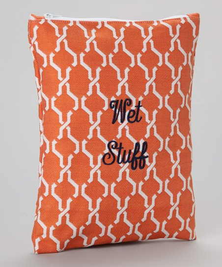 Orange Hexagon 'Wet Stuff' Wet Bag