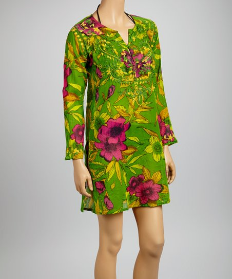 Green & Fuchsia Banana Flower Tunic - Women