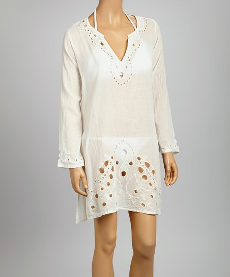 White Eyelet Embroidered Lana Tunic - Women