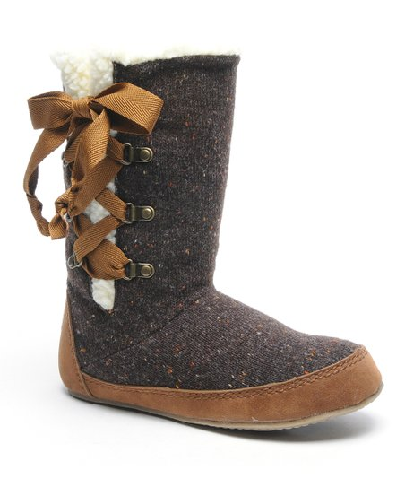 Brown Knit Slipper Boot