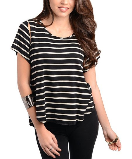 Black & White Cutout Sleeve Top
