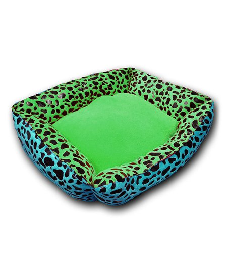 Turquoise & Lime Reversible Cheetah Pet Bed