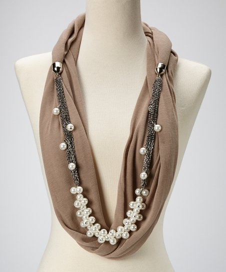 Taupe & White Pearl Infinity Scarf