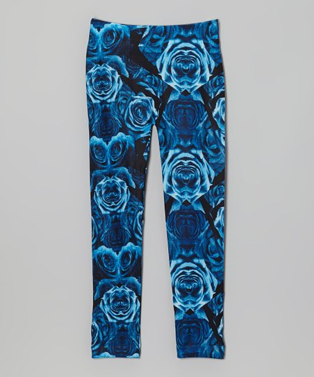 Blue & Black Rose Leggings - Girls