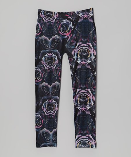 Pink & Black Rose Leggings - Girls