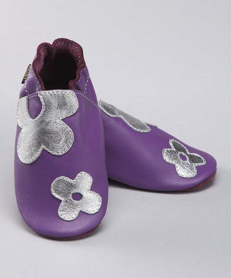 Purple Flower Power Leather Bootie