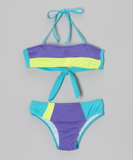 Turquoise & Yellow Bandeau Bikini – Girls