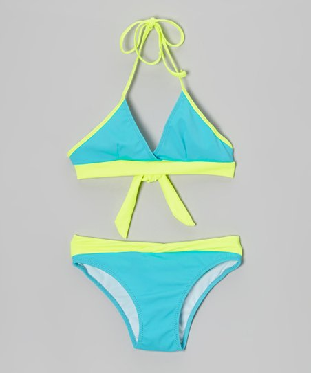 Turquoise & Yellow Bikini - Girls