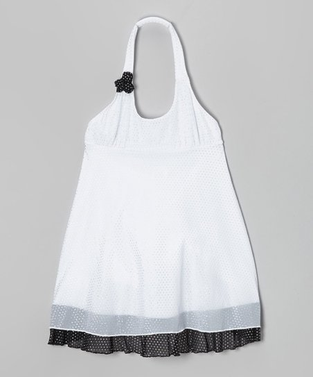 White Metallic Polka Dot Halter Dress - Girls