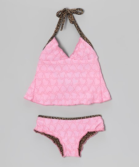 Pink Heart Ruffle Tankini – Toddler & Girls