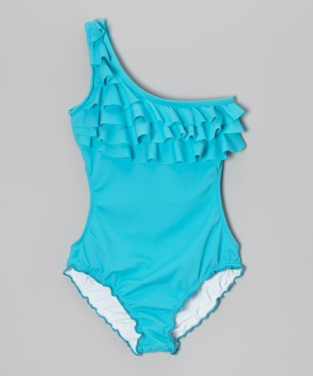 Turquoise Ruffle Asymmetrical One-Piece - Girls