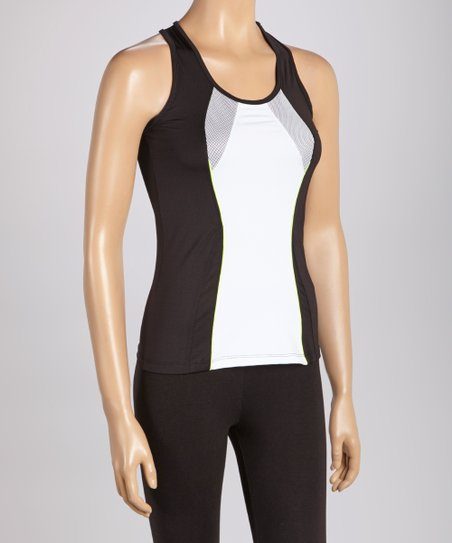 Black & White Mesh Racerback Tank - Women