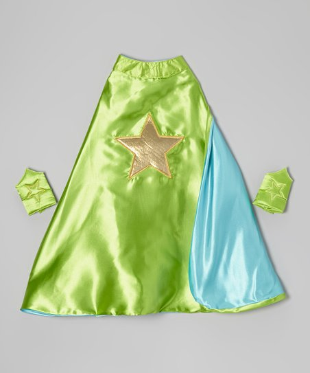 Green & Gold Star Reversible Cape & Cuffs