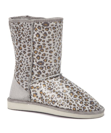 Beige & Brown Leopard Sequin Boot