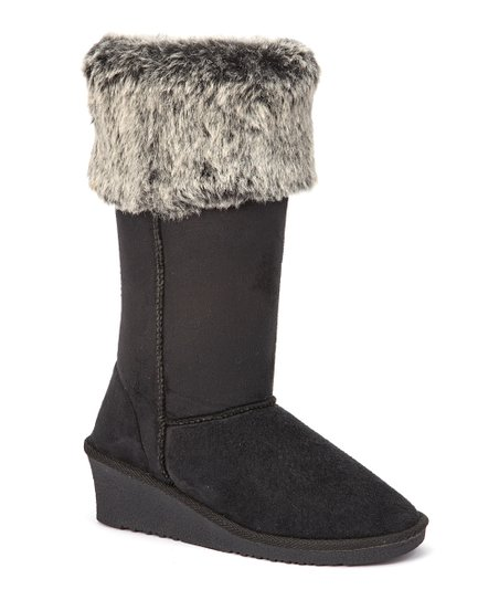 Black Faux Fur-Trim Wedge Boot