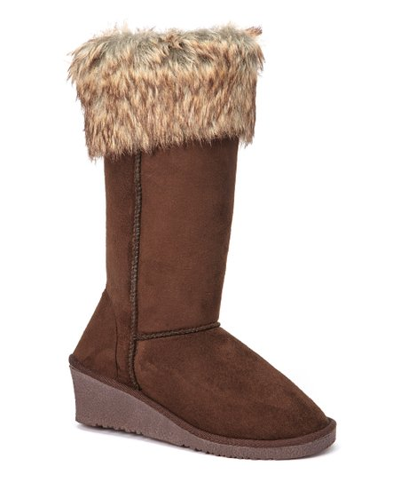Brown Faux Fur-Trim Wedge Boot