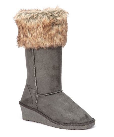 Gray Faux Fur-Trim Wedge Boot
