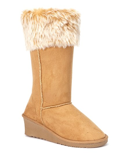 Tan Faux Fur-Trim Wedge Boot
