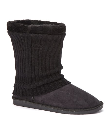 Black Ribbed Knit Boot