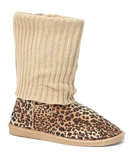 Tan Ribbed Knit Leopard Boot