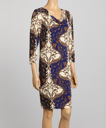 Blue & Beige Arabesque Drape Neck Dress
