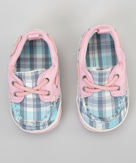 Pink & Blue Plaid Boat Shoe
