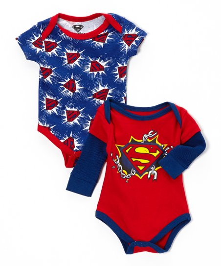 Red & Navy Superman Bodysuit Set - Infant