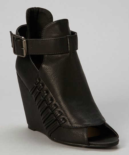 Black Amanda Buckle Peep-Toe Wedge