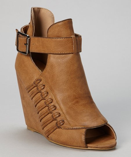 Tan Buckle Amanda Peep-Toe Wedge