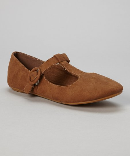Brown Bubble T-Strap Flat