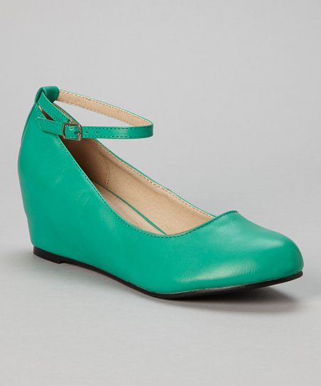 Sea Green Bobby Ankle Strap Wedge
