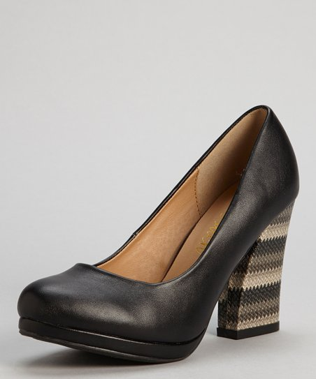 Black Sense Embellished-Heel Pump