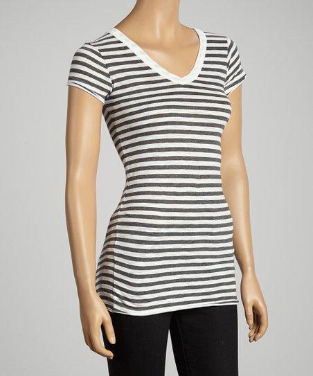White & Charcoal Stripe Cap Sleeve Top - Women