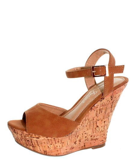 Cognac Buckle Ardo Wedge Sandal