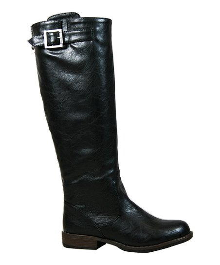 Black Montage Double-Buckle Boot