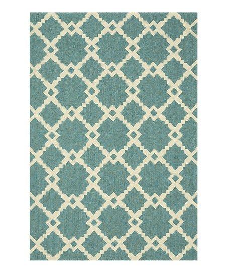 Turquoise & Ivory Ventura Indoor/Outdoor Rug