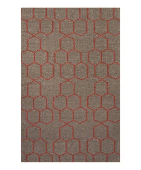 Gray & Red Honeycomb Wool Rug