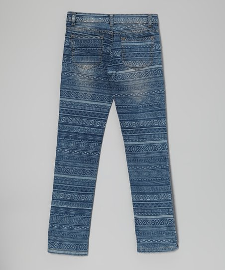 Blue Aztec Stripe Skinny Jeans - Toddler & Girls