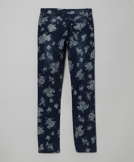 Dark Wash Floral Skinny Jeans - Toddler & Girls