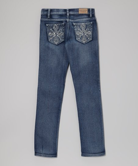 Medium Wash Wrinkle Skinny Jeans - Girls
