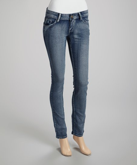 Light Wash Wrinkle Skinny Jeans - Juniors