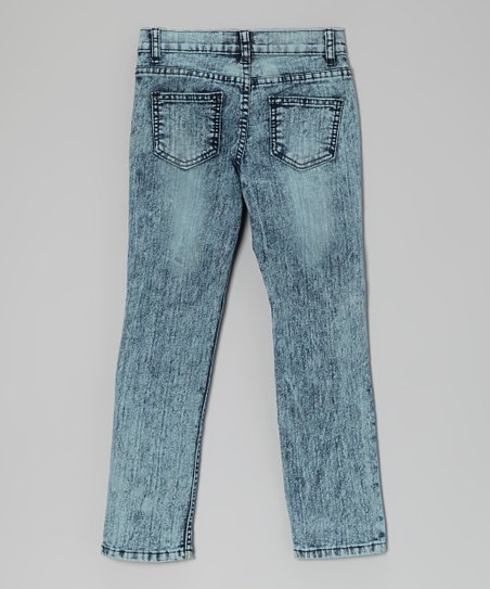 Acid Wash Distressed Skinny Jeans - Toddler & Girls