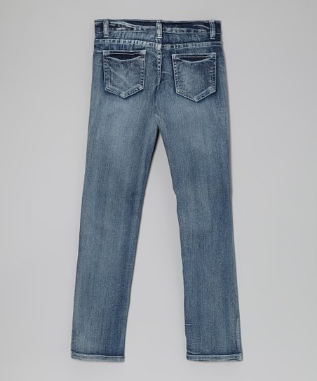 Medium Wash Distressed Jeans - Toddler & Girls