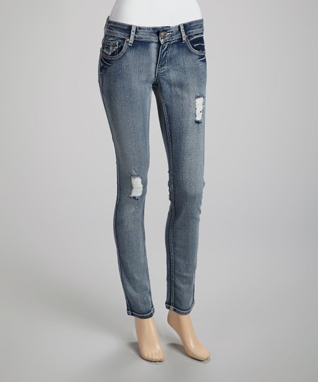 Medium Wash Distressed Jeans - Juniors