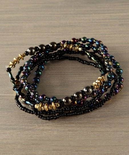 Black & Gold Beaded Stretch Bracelet
