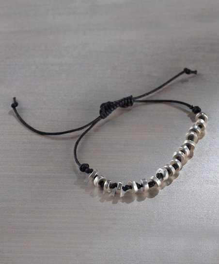 Silver & Black Beaded Tie Bracelet