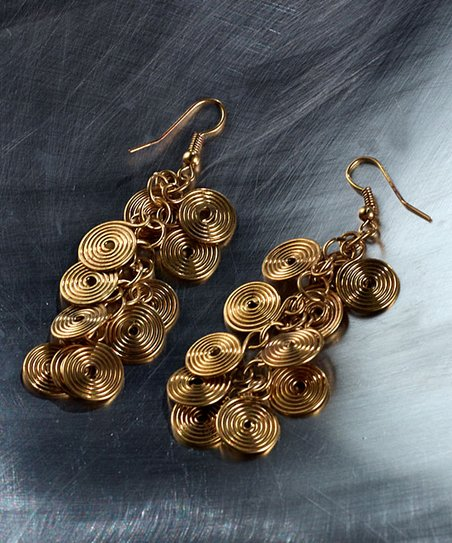 Brass Spiral Cluster Drop Earrings