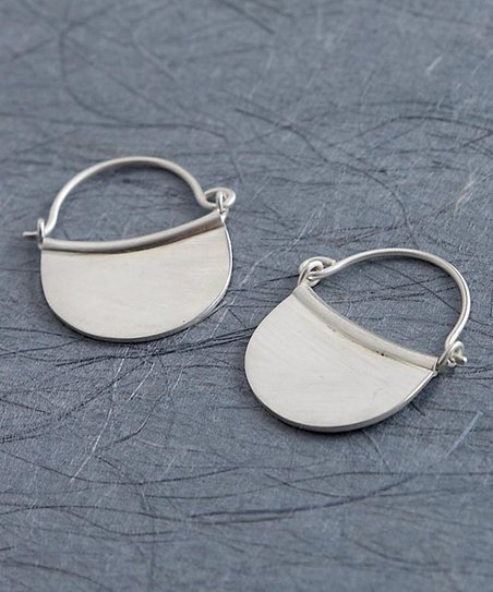 Silver Half-Moon Hoop Earrings