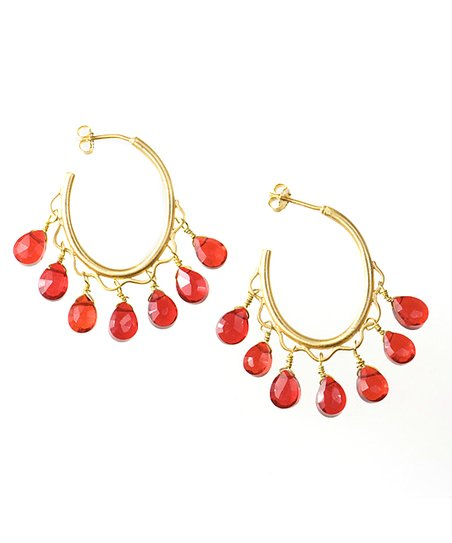 Gold & Red Teardrop Bead Hoop Earrings