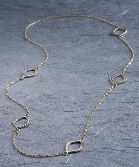 Silver Open Marquis Necklace